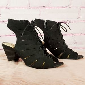 Vince Camuto Black Suede Lace Up Heeled Sandals